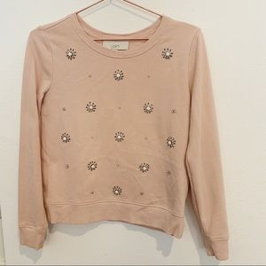 Loft Blush Pink Jewel Embellished Sweatshirt
